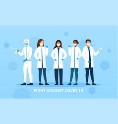 Frontline people in fight against covid-19 vector