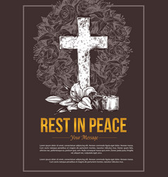 funeral service hand drawn cross vector image