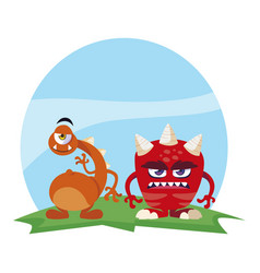 Funny monsters couple in field characters vector