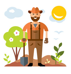 gardening man with shovel flat style vector image
