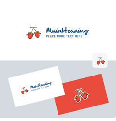 gloves logotype with business card template vector image
