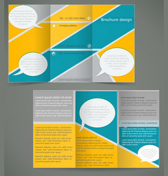 Green brochure layout design with yellow elements vector