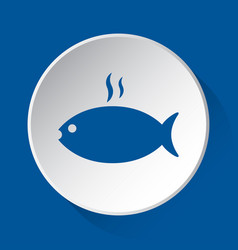 Grilling fish with smoke - blue icon white button vector