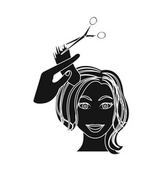 Hair cutting with scissors womens haircut single vector