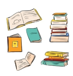 Hand drawn color books set vector image vector image