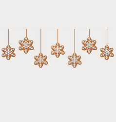 hanging gingerbread snowflakes cookies vector image