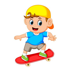 happy boy playing skateboard vector image