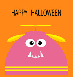 Happy halloween card funny monster head vector