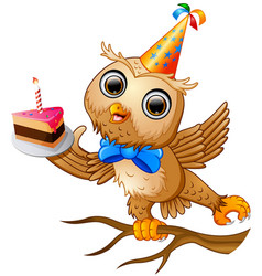 Happy owl cartoon celebrating birthday vector