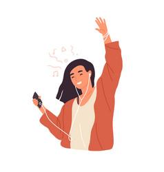 happy woman in earphones dancing and listening vector image