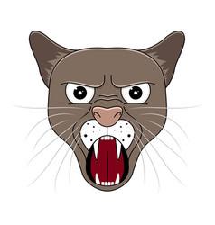 head of puma in cartoon style kawaii animal vector image