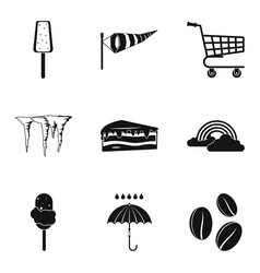 ice cream cone icons set simple style vector image