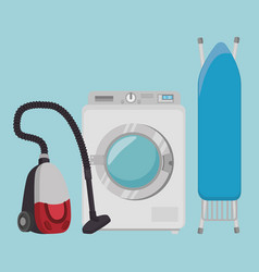 Laundry room flat icons vector