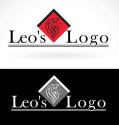 Lion head logo design mock up template set vector image