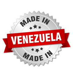 Made in venezuela silver badge with red ribbon vector