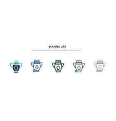 Manna jar icon in different style two colored vector