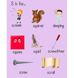 Many words begin with alphabet S vector