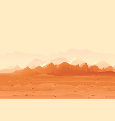 Martian mountains landscape background vector
