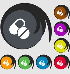 Medical pill icon sign Symbols on eight colored vector image