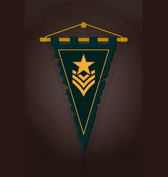 medieval triangular pennant flag with emblem vector image