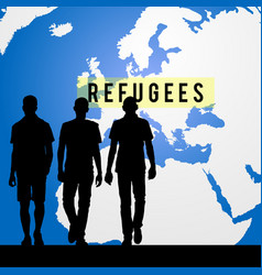 Migration refugees and map of world in background vector