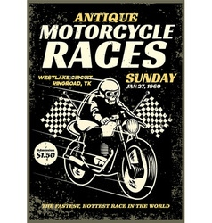 Motorcycle race poster in grunge textured style vector