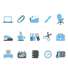office tools icon set blue series vector image vector image