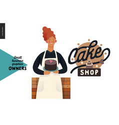 Owners - small business graphics - cake shop vector