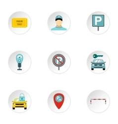 Parking transport icons set flat style vector image