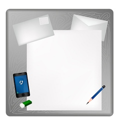 Pencil and Smartphone on Blank Page with Envelope vector image