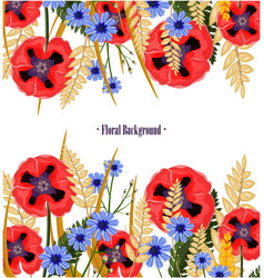 poppy flowers card floral background vector image