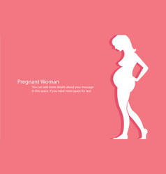 Pregnant woman with space background vector