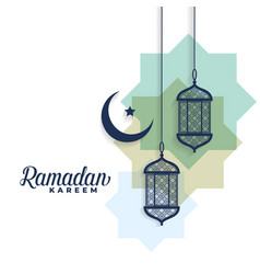 Ramadan kareem moon and arabic lamps background vector
