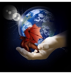 Red dragon on a hand on a background of the earth vector