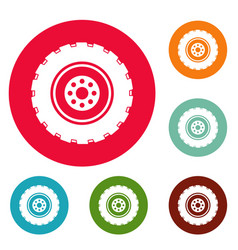 repairing tire icons circle set vector image
