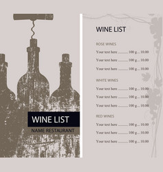 restaurant wine list with bottles and corkscrew vector image