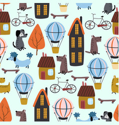 Seamless pattern with city houses and dogs vector
