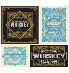 set 4 vintage liquor labels layered vector image