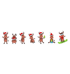 set funny oxen christmas bulls cheerful cartoons vector image