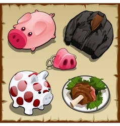 set symbolism pigs in different types 5 items vector image