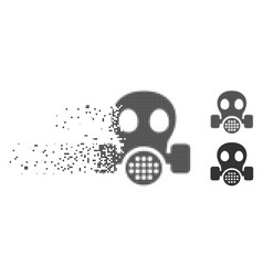 Shredded pixel halftone gas mask icon vector