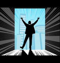 Silhouette of a successful businessman vector