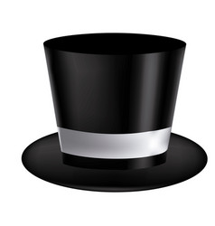 Silhouette of realistic black hat with ribbon in vector