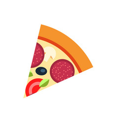 slice of pizza with salami and vegetables vector image