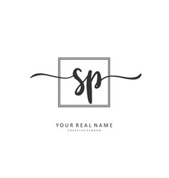 Sp initial letter handwriting and signature logo vector