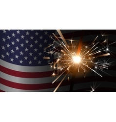 Sparklers on a background of the American flag vector