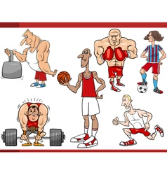 Sportsmen and sports cartoon set vector