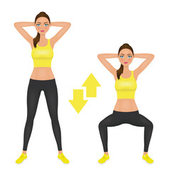squats exercise instruction young woman make vector image