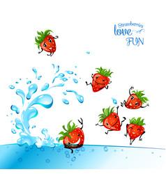Strawberries love fun vector