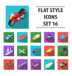 transportation set icons in flat style big vector image